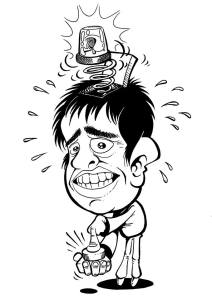 Caricature of Phil Evans activating his social awkwardness alarm - Phil Evans